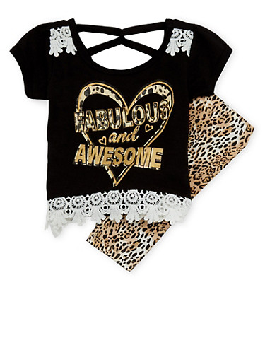 Toddler Girls Graphic Top with Leggings Set,BLACK,large