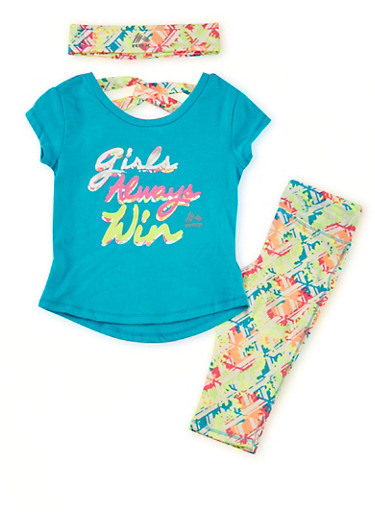 Toddler Girls Graphic Top with Activewear Leggings and Headband Set,TURQUOISE,large