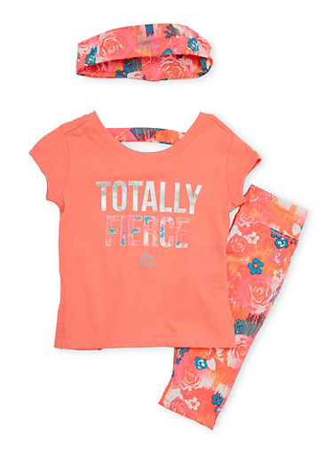 Toddler Girls Graphic Top with Activewear Leggings and Headband Set,CORAL,large