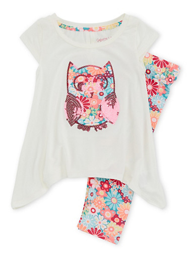Toddler Girls Sharkbite Hem Owl Top and Leggings with Floral Print,IVORY,large