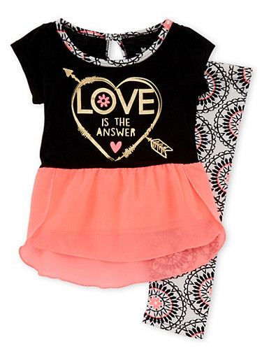 Toddler Girls Chiffon Hem Top and Leggings with Love is the Answer Heart Print,BLACK,large