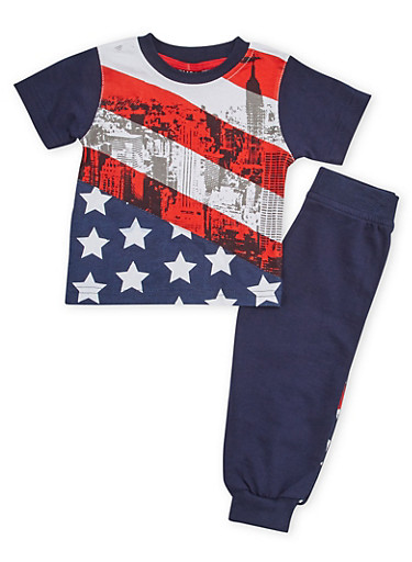 Toddler Boys Crew Neck Tee and Joggers with American Flag Print,BLACK,large