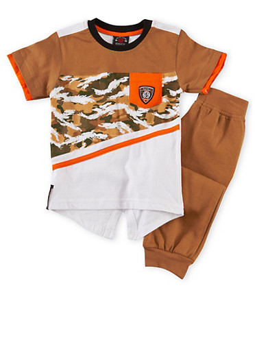 Toddler Boys Enyce Graphic Tee with Joggers Set,KHAKI,large