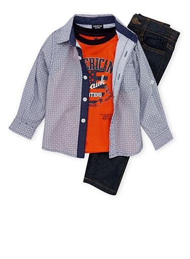 Toddler Boys Printed Shirt and Graphic Tee with Jeans Set,NAVY,large