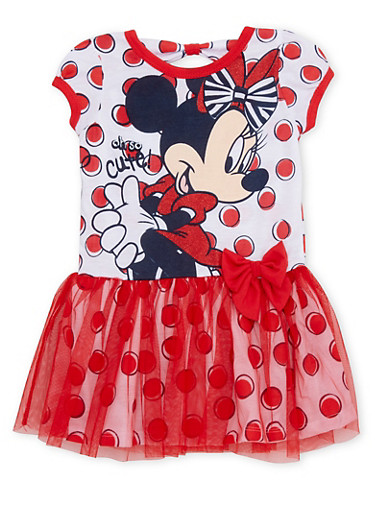 Toddler Girls Minnie Mouse Tutu Dress with Polka Dots,RED,large