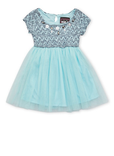 Toddler Girls Studded Knit Dress with Mesh Skirt,MINT,large