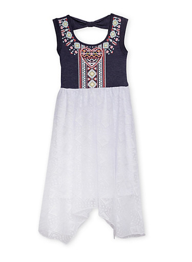 Toddler Girls Sleeveless Lace Dress with Knit Denim Bodice,WHITE,large
