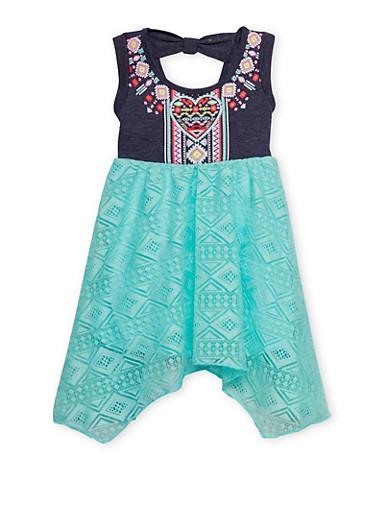 Toddler Girls Sleeveless Knit Denim Dress with Lace Skirt,MINT,large