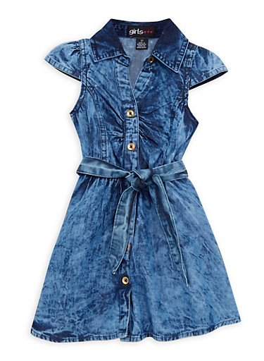 Toddler Girls Denim Shirt Dress with Belt,DENIM,large