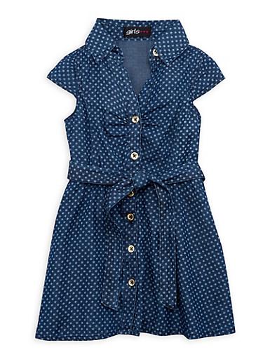 Toddler Girls Denim Shirt Dress in Star Print,DENIM,large