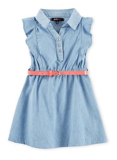 Toddler Girls Cap Sleeve Denim Shirt Dress,DENIM,large