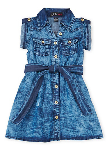 Toddler Girls Chambray Shirt Dress with Belt,DENIM,large