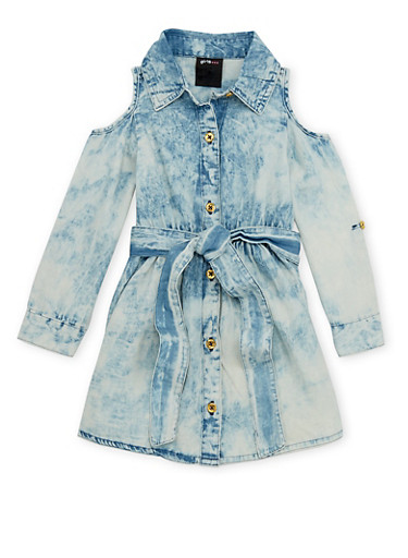 Toddler Girls Cold Shoulder Denim Dress with Acid Wash Print,DENIM,large