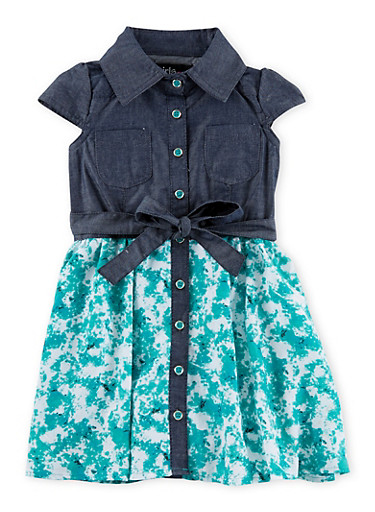 Toddler Girls Denim Dress with Printed Chiffon Skirt,JADE,large