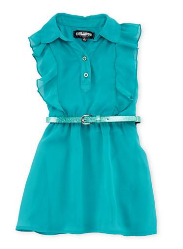 Toddler Girls Flutter Cap Sleeve Belted Dress,TEAL,large