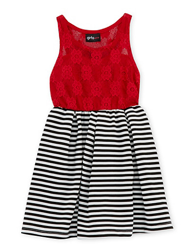 Toddler Girls Lace Dress with Striped Knit Skirt,RED,large