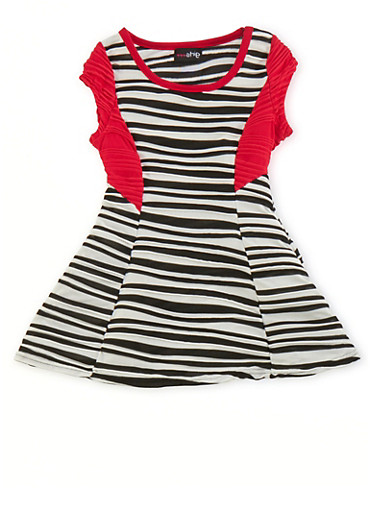 Toddler Girls Striped Skater Dress with Necklace,RED,large