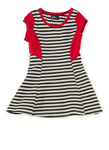 Toddler Girls Striped Skater Dress with Contrast Panels,RED,large