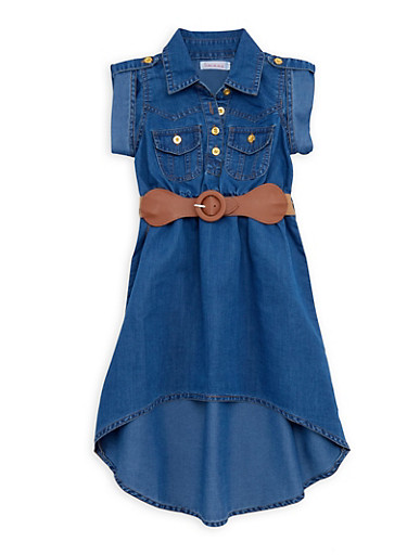 Toddler Girls Denim Dress with Belt,DARK WASH,large