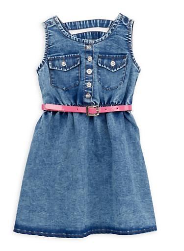 Toddler Girls Denim Dress with Belt,DARK WASH,large