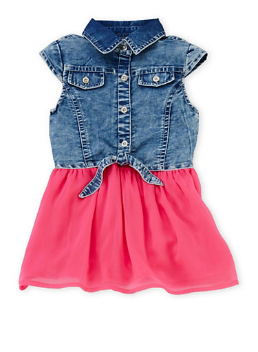 Toddler Girls Button Up Denim Dress with Chiffon Skirt,LIGHT WASH,large