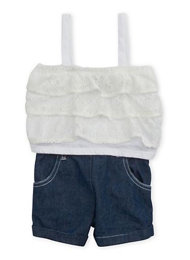 Toddler Girls Crop Top and Denim Shorts Set,WHITE,large