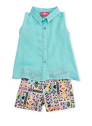 Toddler Girls Shirt and Tank Top with Printed Shorts Set,MINT,large