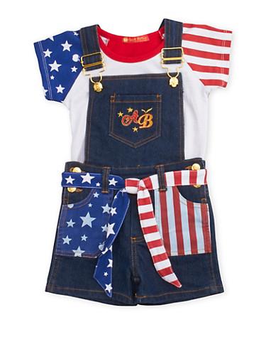 Toddler Girl Apple Bottom Flag Denim Shortalls and Tee Set,DENIM,large