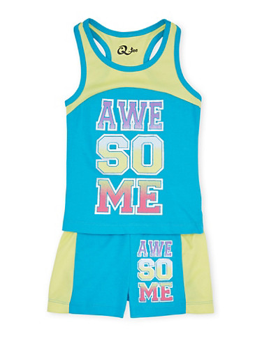 Toddler Girls Racerback Tank Top with Awesome Graphic and Matching Shorts Set,TURQUOISE,large