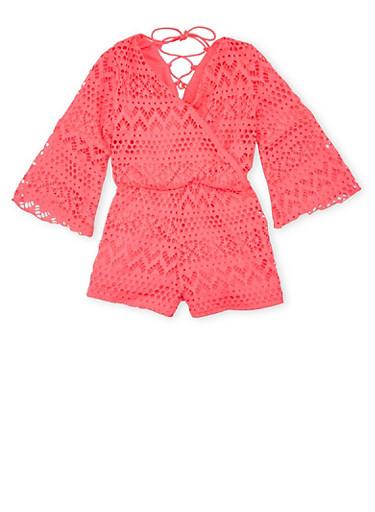 Toddler Girls Kensie Eyelet Romper with Bell Sleeves,NEON PINK,large