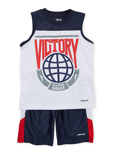 Toddler Boys Tank Top and Mesh Shorts with Graphic,NAVY,large