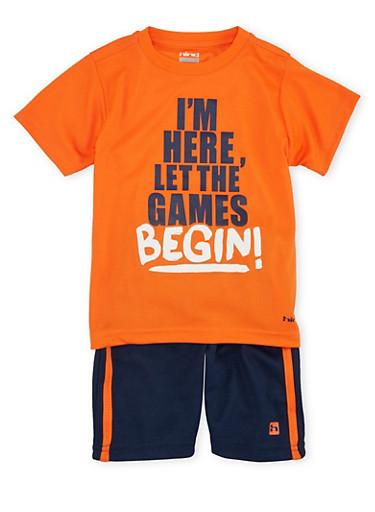 Toddler Boys Top and Shorts Set with Got Game Print,ORANGE,large