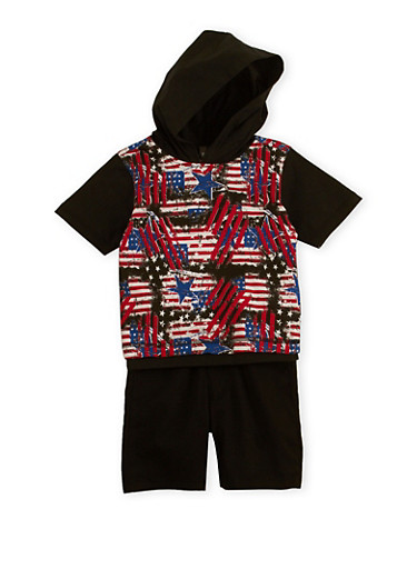 Toddler Boys Printed Top and Belted Shorts Set,BLACK,large