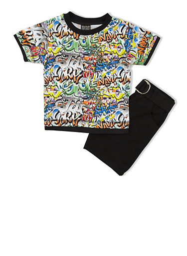 Toddler Boys Graffiti Print Top and Belted Shorts Set,BLACK,large