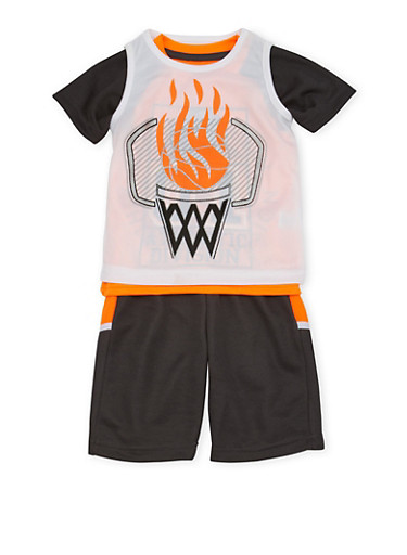 Toddler Boys Basketball Tank Top and T-Shirt with Shorts Set,ORANGE,large
