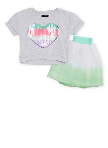 Toddler Girls Kensie Knit Top and Tutu Set,MINT,large