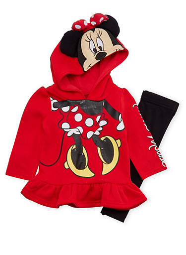 Baby Girl Leggings and Peplum Hoodie with Minnie Mouse Graphic,RED,large
