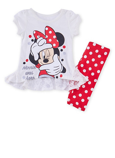 Baby Girl Minnie Mouse Top with Polka Dot Leggings Set,RED,large
