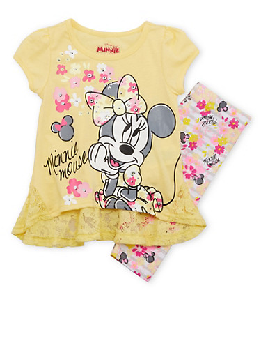 Baby Girl Minnie Mouse Tee with Lace Hem and Leggings Set,YELLOW,large