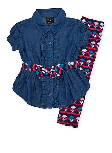 Baby Girl Denim Tunic Top and Printed Leggings Set,NAVY,large
