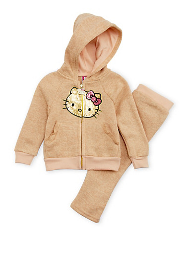 Baby Girl Hello Kitty Hoodie and Sweatpants Set,IVORY,large