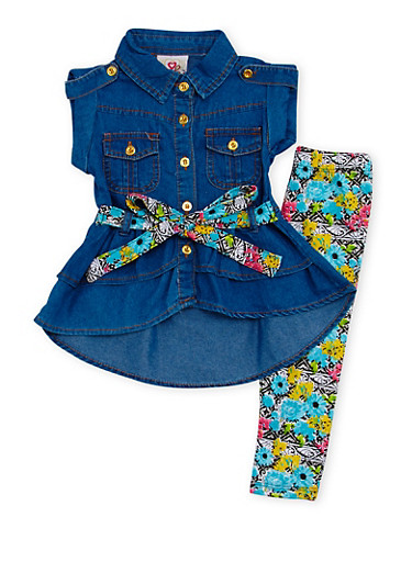 Baby Girl Denim Tunic Top and Printed Leggings Set,LIGHT WASH,large