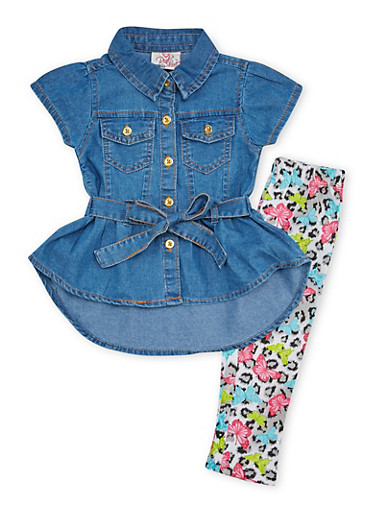 Baby Girl Belted Denim Top and Leggings with Butterfly Print,LIGHT WASH,large