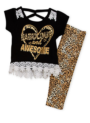 Baby Girl Graphic Tee and Printed Leggings Set,BLACK,large