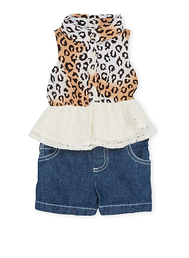 Baby Girl Leopard Print Shirt with Lace Peplum and Denim Shorts Set,IVORY,large