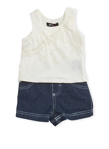 Baby Girl Ruffle Accent Top Chambray Shorts Set,IVORY,large