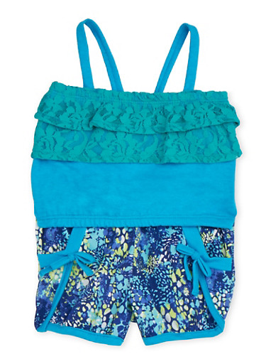 Baby Girl Crop Tank Top and Printed Shorts Set,TURQUOISE,large