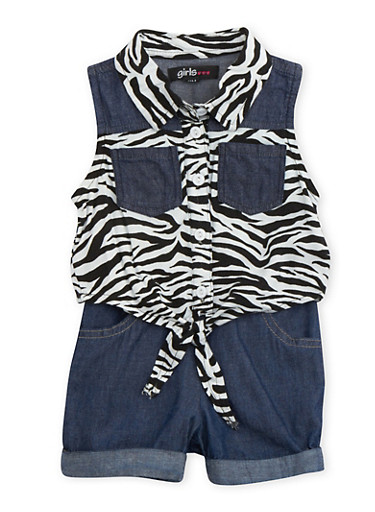 Baby Girl Tie-Front Shirt and Denim Shorts Set,BLACK,large