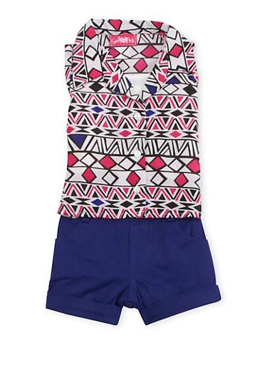 Baby Girl Printed Shirt and Shorts Set,WHITE/PINK,large
