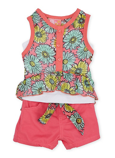Baby Girl Daisy Print High Low Top with Shorts Set,PINK,large